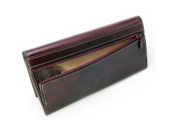 オックスフォード コンパクト長財布(小銭入れあり) 「ゴールドファイル」 GP10220 バーガンディ 裏面