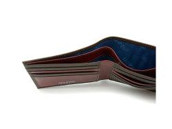 Superior(スペリオール) 二つ折り財布(小銭入れなし)  「ゴールドファイル」 GP24315 ダークブラウン 内作り