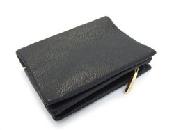 Natural(ナチュラル) 二つ折り財布(ファスナー小銭入れ付き) 「ゴールドファイル」 GP54214 クロ 裏面
