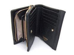 Natural(ナチュラル) 二つ折り財布(ファスナー小銭入れ付き) 「ゴールドファイル」 GP54214 クロ 内作り