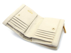 Natural(ナチュラル) 二つ折り財布(ファスナー小銭入れ付き) 「ゴールドファイル」 GP54214 アイボリー 内作り