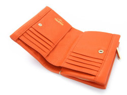 Natural(ナチュラル) 二つ折り財布(ファスナー小銭入れ付き) 「ゴールドファイル」 GP54214 オレンジ 内作り