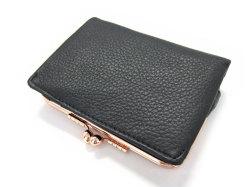 Natural(ナチュラル) 二つ折り財布(がま口小銭入れあり) 「ゴールドファイル」 GP54312 クロ 裏面