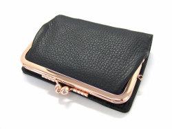Natural(ナチュラル) 二つ折り財布(がま口小銭入れあり) 「ゴールドファイル」 GP54312 クロ 正面