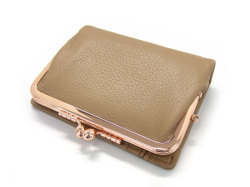 Natural(ナチュラル) 二つ折り財布(がま口小銭入れあり) 「ゴールドファイル」 GP54312 オーク 正面
