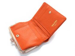 Natural(ナチュラル) 二つ折り財布(がま口小銭入れあり) 「ゴールドファイル」 GP54312 オレンジ 内作り