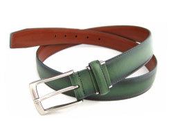 牛革 グラデーション ベルト 30mm幅 ピン式 「プレリーギンザ」 NB01080 グリーン 正面