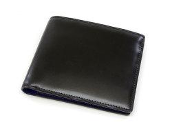 Cordovan Color(コードバンカラー)二つ折り財布(小銭入れなし)「プレリー1957」 NP01318 クロ/ブルー 正面