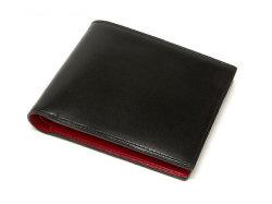 Cordovan Color(コードバンカラー)二つ折り財布(小銭入れなし)「プレリー1957」 NP01318 クロ/アカ 正面