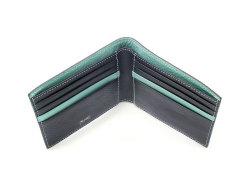 ピープル 二つ折り財布(小銭入れなし) 「プレリー1957」 NP10295 クロ/ブルー 内作り