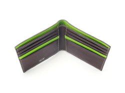 ピープル 二つ折り財布(小銭入れなし) 「プレリー1957」 NP10295 チョコ/グリーン 内作り