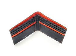 ピープル 二つ折り財布(小銭入れなし) 「プレリー1957」 NP10295 クロ/オレンジ 内作り