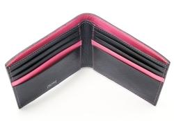 ピープル 二つ折り財布(小銭入れなし) 「プレリー1957」 NP10295 クロ/ピンク 内作り