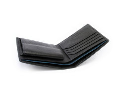 ItalianDeerskin (イタリアンディア) 二つ折り財布(小銭入れあり) 「プレリー1957」 NP17112 クロ 内作り