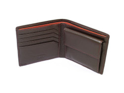 ItalianDeerskin (イタリアンディア) 二つ折り財布(小銭入れあり) 「プレリー1957」 NP17112 チョコ 内作り