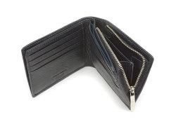 ItalianDeerskin (イタリアンディア) 二つ折り財布(F小銭入れあり) 「プレリー1957」 NP17814 クロ 内作り