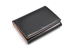 ナチュラルコードバン スマートコンパクト 三つ折り財布(小銭入れあり) 「プレリーギンザ」 NP47122 クロ 正面