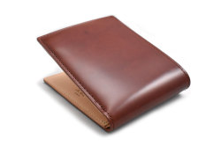 ナチュラルコードバン スマートコンパクト 二つ折り財布(小銭入れあり) 「プレリーギンザ」 NP47724 チョコ 裏面