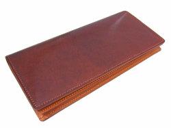 ナチュラルグレージングコードバン  長財布  「プレリーギンザ」 NP53033 チョコ 正面