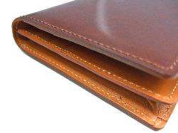 ナチュラルグレージングコードバン  長財布  「プレリーギンザ」 NP53033 チョコ 側面コバ
