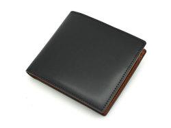 ナチュラルグレージングコードバン  二つ折り財布(小銭入れあり)  「プレリーギンザ」 NP53130 クロ 正面