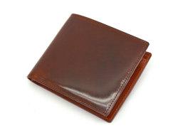 ナチュラルグレージングコードバン  二つ折り財布(小銭入れあり)  「プレリーギンザ」 NP53130 チョコ 正面