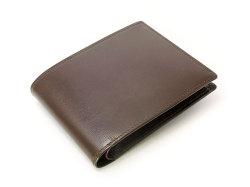 ボックスカーフ ヴェネチアンレザー  二つ折り財布(小銭入れあり)  「プレリーギンザ」 NP56118 チョコ 正面