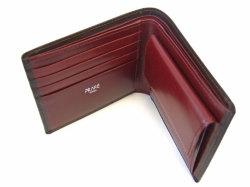 ボックスカーフ ヴェネチアンレザー  二つ折り財布(小銭入れあり)  「プレリーギンザ」 NP56118 チョコ 内作り