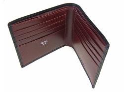 ボックスカーフ ヴェネチアンレザー  二つ折り財布(小銭入れなし)  「プレリーギンザ」 NP56216 クロ 内作り