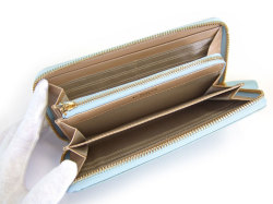 Bijue(ビジュー) ラウンドファスナー長財布 「ル・プレリー 」 NPL1413 サックス 内作り