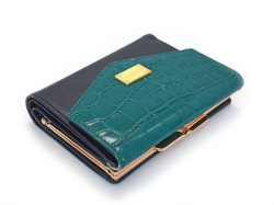 Fascino(ファッシノ) がま口二つ折り財布(小銭入れあり) 「ル・プレリーギンザ 」 NPL3314 グリーン 正面