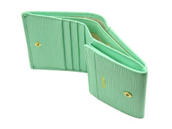 Refined(リファイン) 二つ折り財布 (小銭入あり)「ル・プレリーギンザ」 NPL5410 抗菌・抗ウイルス クレンゼ使用 ライトグリーン 内作り