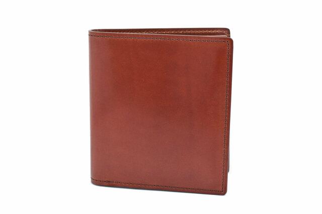 Natural Cordovan(ナチュラルコードバン)  コンパクト二つ折り財布(小銭入れなし) 「プレリーギンザ」 NP48624 チョコ 正面