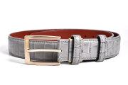 クロコクロス 35mm幅 ピン式ベルト 「プレリーギンザ」 NB20710 グレー 正面