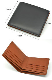 ナチュラルグレージングコードバン  二つ折り財布(小銭入れなし)  「プレリーギンザ」 NP53227 サイズ